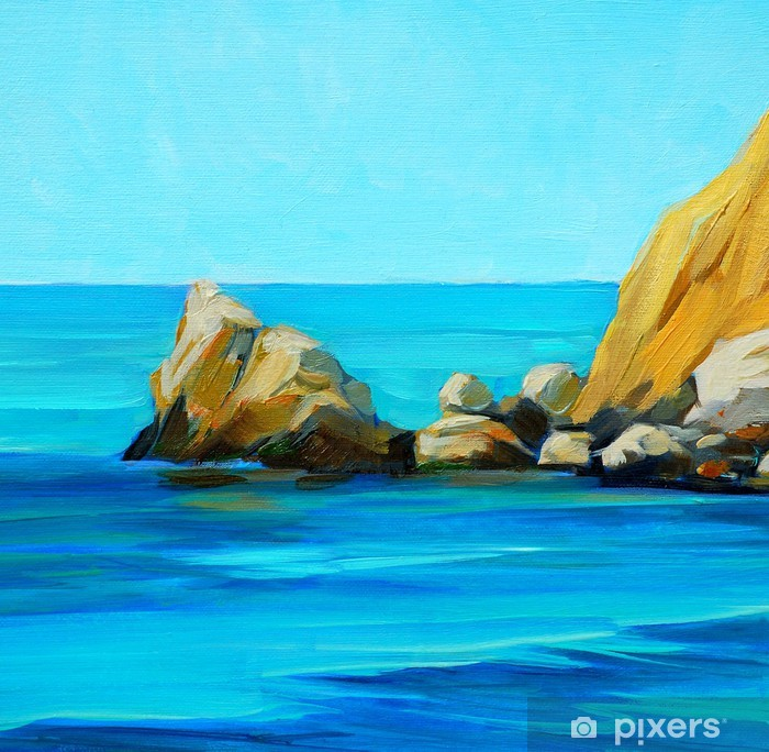 Bir Plaj Ve Bay Boyama B Akdeniz Deniz Manzara Duvar Resmi