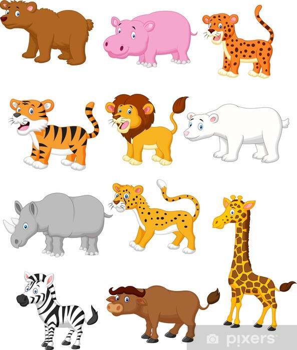Pixerstick Sticker Wild dier cartoon - Zoogdieren