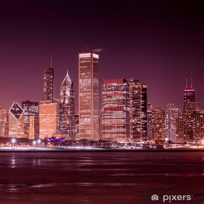 Fototapeta winylowa Downtown Chicago - Frozen Lake Michigan w nocy - Tematy