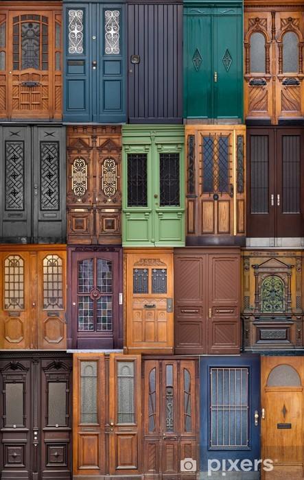 Fototapeta winylowa 20 różnych europejskich drzwi wejścia. Zestaw kolorowych woo -