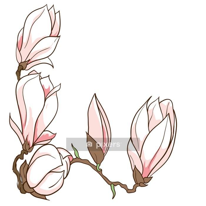 Vinilo para Pared Vector mano marco magnolia flores dibujadas - Vinilo para pared