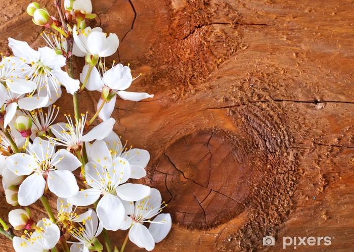 Nálepka Pixerstick Květiny na dřevěné pozadí - Pozadí