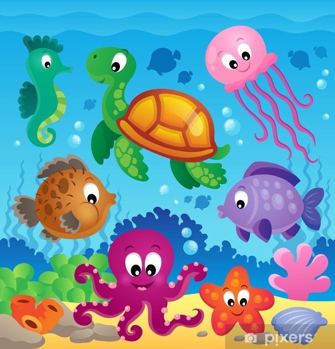 Image with undersea theme 7 Pixerstick Sticker - Themes
