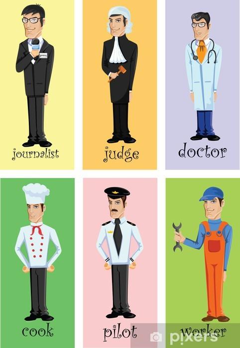Papier peint vinyle Personnages de dessins animés de différentes professions - Hommes