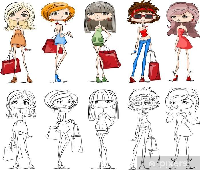 Naklejka Pixerstick Zestaw kreskówek modnych dziewczyn - Moda
