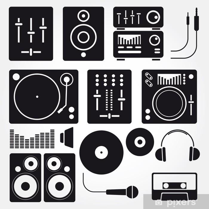 Plakát Vektorové sada různých stylizovaných ikon dj - Hudba