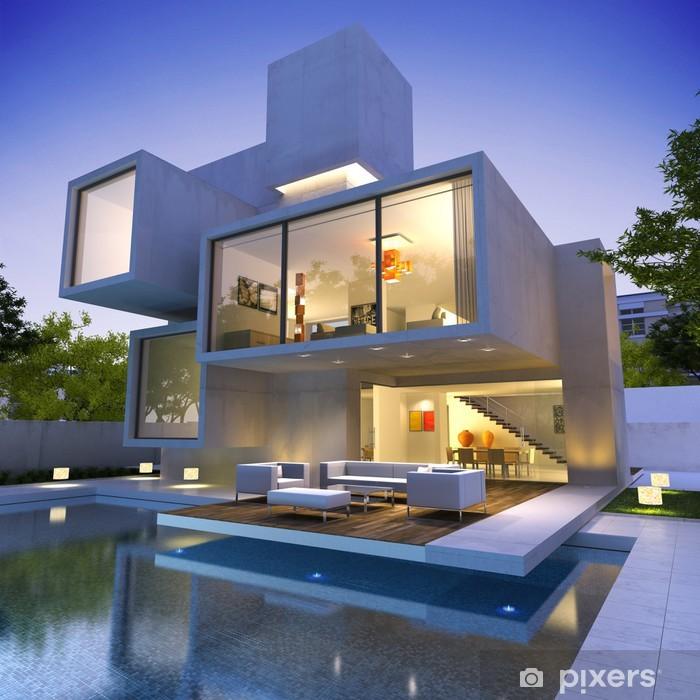 Fototapete Modernes Haus mit Pool Bunker