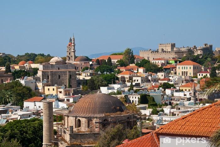 Naklejka Pixerstick Rhodes. Panorama starego miasta - Europa