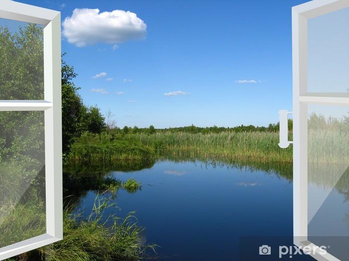 Papier Peint Autocollant Fenêtre ouverte sur le lac et prairie - Thèmes
