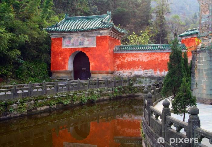 Papier peint vinyle Violet Temple Cloud au montagnes de Wudang, Chine - Asie
