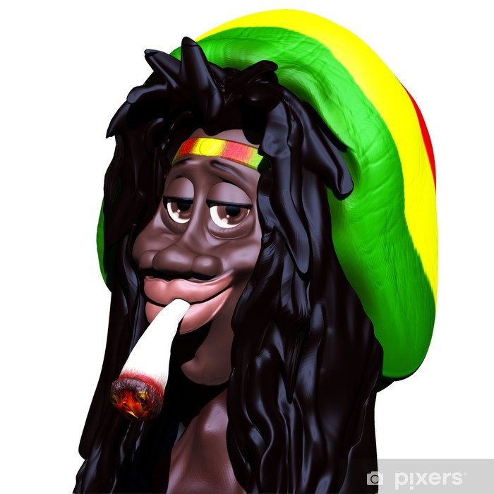 Rastaman Marijuana Caricature 3d Wall Mural Pixers 174 We