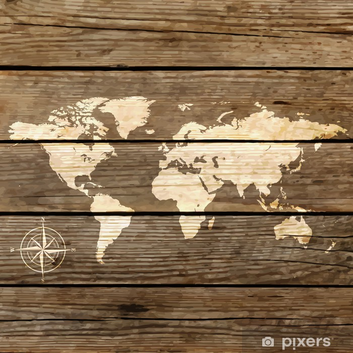 Fotomural Estándar Mapa del mundo en un vector de tabla de madera - Temas