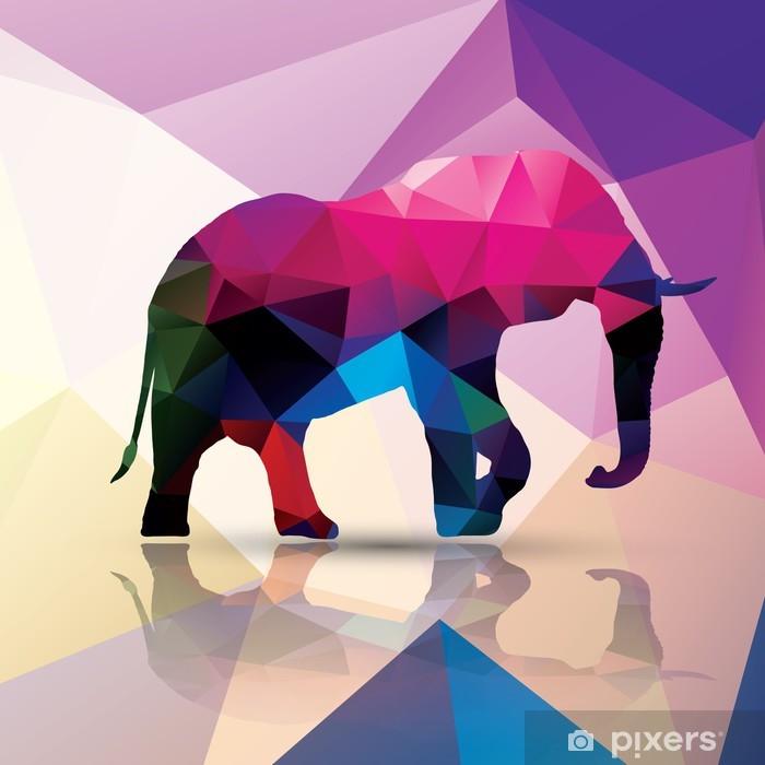Geometric polygonal elephant, pattern design, vector Pixerstick Sticker - Themes