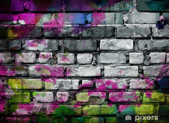 graffiti brick wall Pixerstick Sticker - Themes