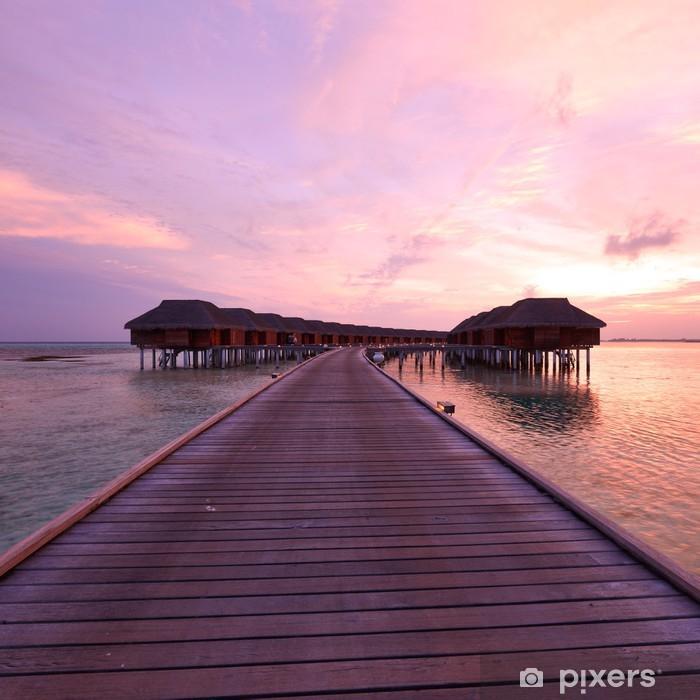 Plakat Zachód słońca na plaży Malediwach - Niebo