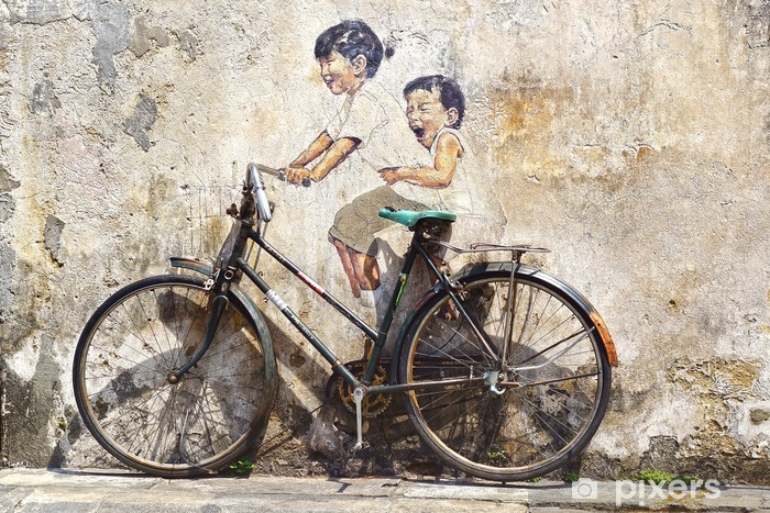 """""""Little Children on a Bicycle"""" Mural. Vinyl Wall Mural - Cycling"""