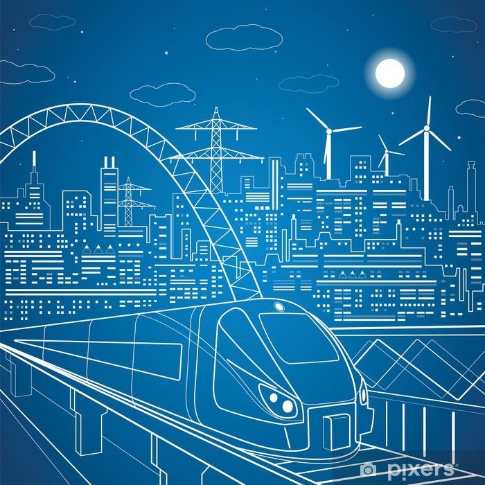 Fototapeta winylowa Linie wektorowe pociąg na wiadukt, w tle światła miasta - Kolej