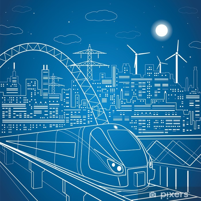 Vektori linjat junan ohitus, taustavalo kaupunki Pixerstick tarra - Rautatiet
