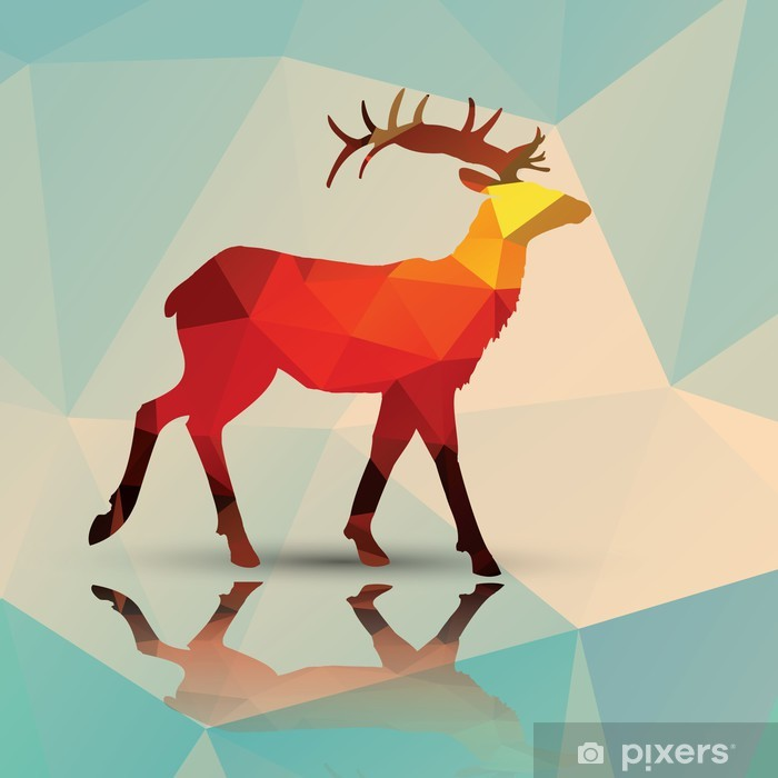 Geometric polygonal deer, pattern design, vector Vinyl Wall Mural - Themes