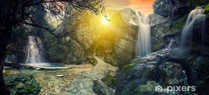 Surreal Tropical waterfall Pixerstick Sticker - Water