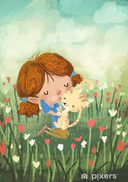Nálepka Pixerstick Dívka s kočkou - Savci