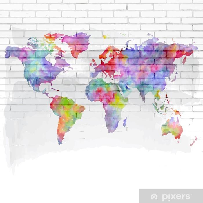 Fotomural Estándar Acuarela mapa del mundo en una pared de ladrillo - Temas