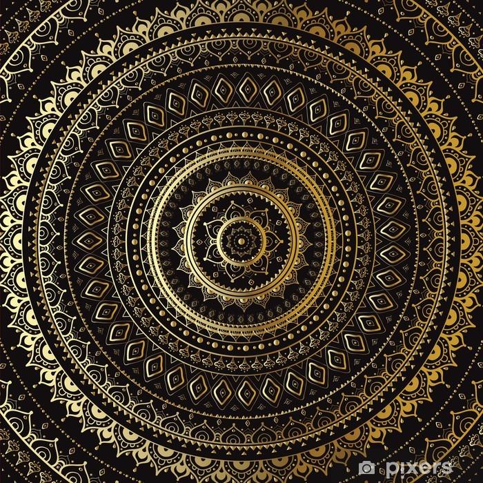 Fotomural Estándar Oro Mandala. Patrón decorativo de la India. - Temas