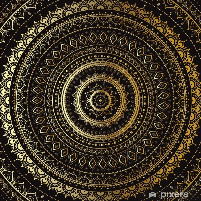 Sticker Pixerstick Or Mandala. Motif décoratif indien. - Thèmes