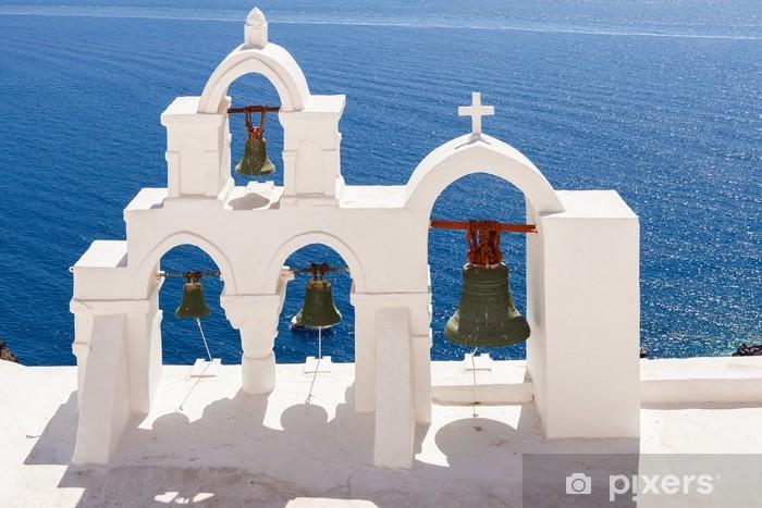Naklejka Pixerstick Santorini Kościół z łuków i dzwony - Europa