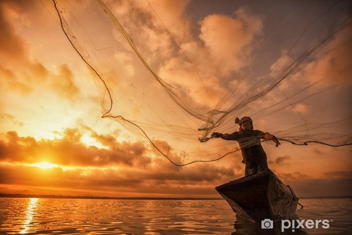 Naklejka Pixerstick Rybak z Bangpra Lake - Azja