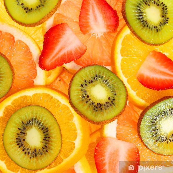 Naklejka Pixerstick Krojone owoce tła - Posiłki