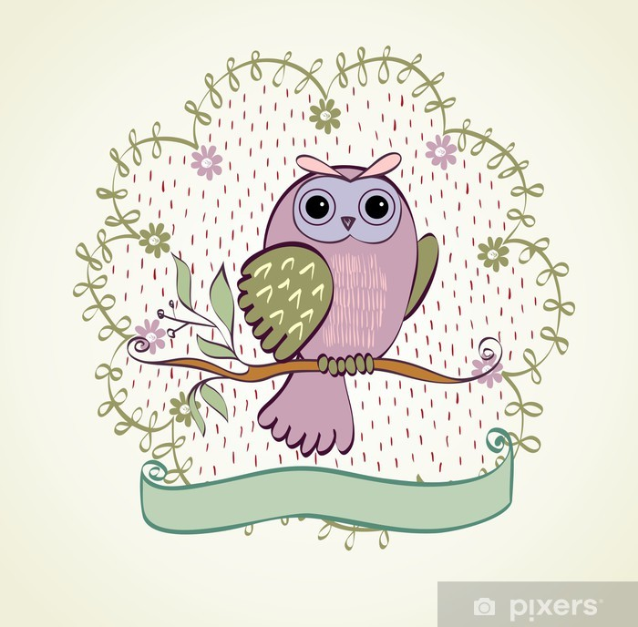 illustration with owl sitting on the branches Pixerstick Sticker - Themes