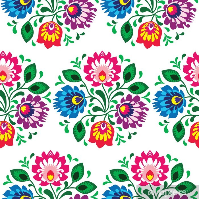 Seamless traditional floral pattern from Poland on white Self-Adhesive Wall Mural - Styles