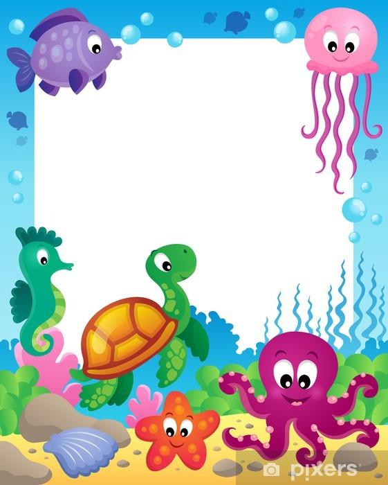 Papier peint vinyle Cadre avec les animaux sous-marins 3 - Animaux marins