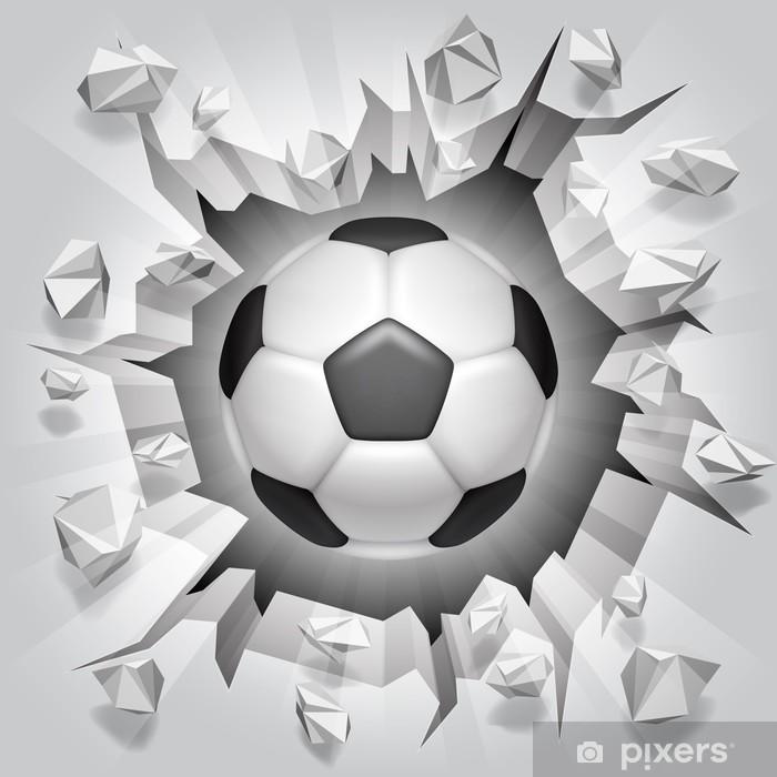 Soccer ball and cracked wall. Vinyl Wall Mural -