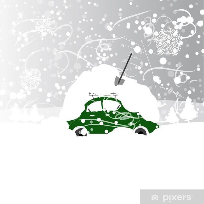 Aufkleber Auto Mit Schneewehe Auf Dem Dach Im Winter Schneesturm Pixerstick