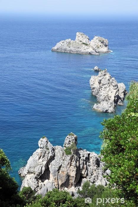 Vinil Duvar Resmi Paleokastritsa yakın deniz manzarası. Corfu Adası, Yunanistan. - Vahşi doğa