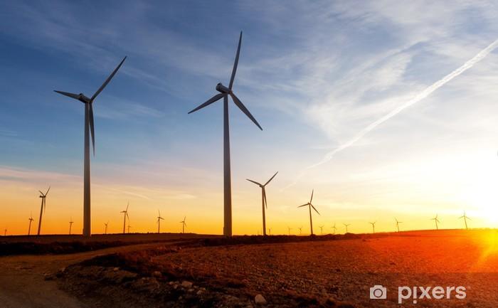 Fototapeta winylowa Odnawialne źródła energii. Farma wiatrowa. Turbiny wiatrowe - Młyny i wiatraki