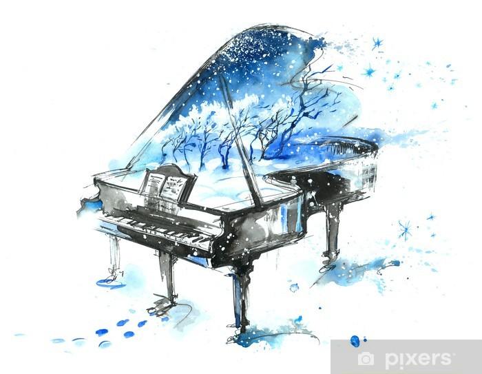 Papier peint vinyle Saisons de l'année - Piano à queue
