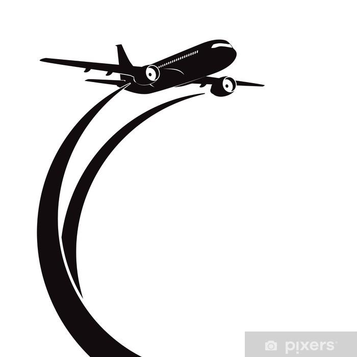 Airplane's silhouette on white background  Sticker - Pixerstick