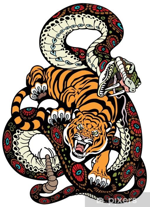 Papier peint vinyle Serpent et du tigre lutte - Animaux imaginaires