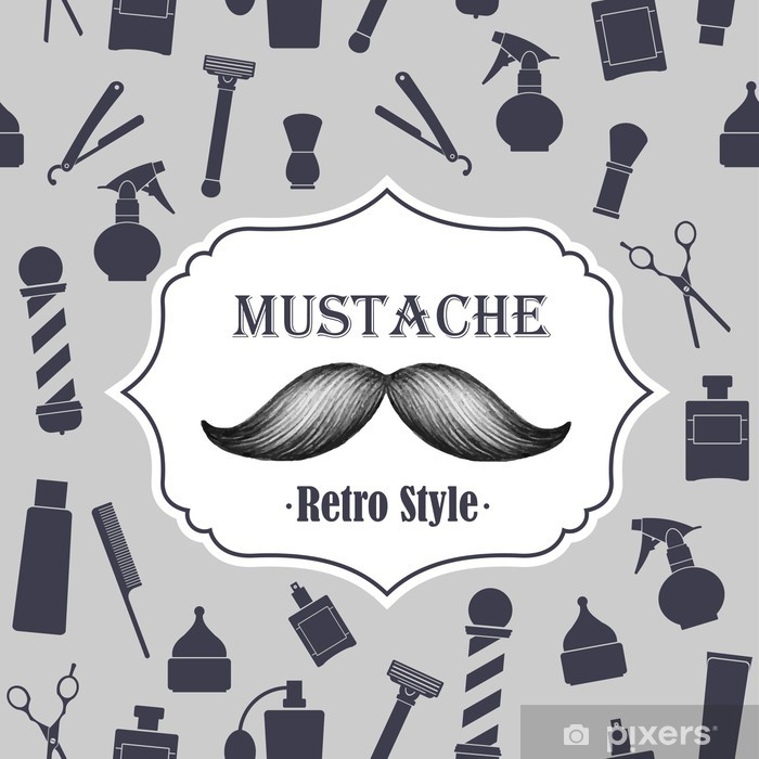Barber shop old fashioned mustache emblem Pixerstick Sticker - Moustache