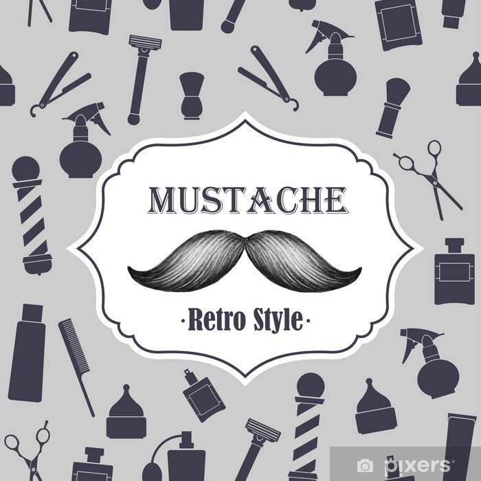 Sticker Pixerstick Barbier ancien emblème de moustache fashioned - Moustache