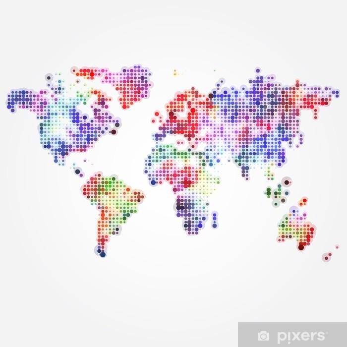 Nálepka Pixerstick Mapa světa s barevnými puntíky různých velikostí - Prvky podnikání