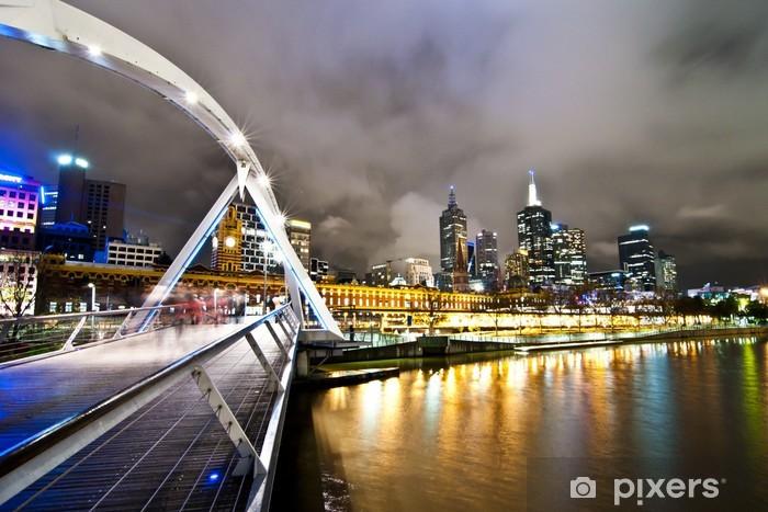 Vinyl Fotobehang Melbourne brug bij nacht - Thema's