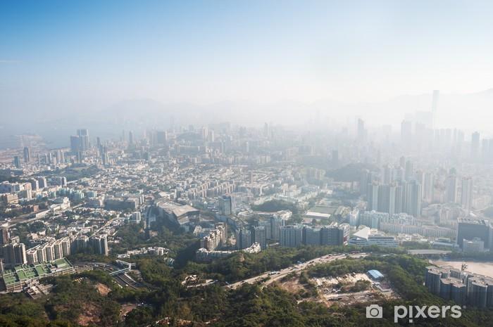 Fototapeta winylowa Zanieczyszczone hong kong miasta widziana z Beacon Hill, Kowloon - Miasta azjatyckie