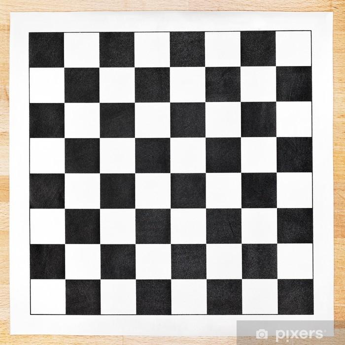 Fototapeta winylowa Czarno-biały winyl szachownica na drewnianym stole - Gry