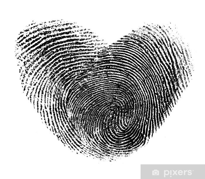 Fototapeta winylowa Odcisk palca serce na białym - Znaki i symbole