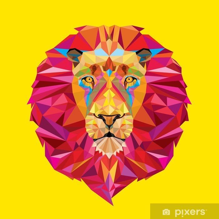 Fototapeta winylowa Głowa lwa w geometryczny wzór -