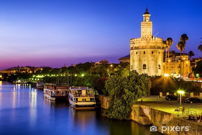 Vinilo Pixerstick Vista de la Torre del Oro (Torre del Oro) de Sevilla, Andalucía, España - Temas